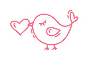 Red Monoline cute bird with heart. Vector Valentines Day Hand Drawn icon. Holiday sketch doodle Design element valentine. love decor for web, wedding and print. Isolated illustration