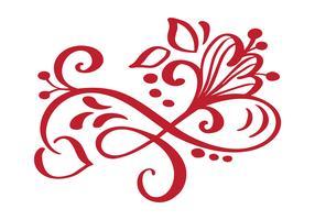 Hand getrokken Floral herfst ontwerpelementen geïsoleerd op een witte achtergrond voor retro design. Vector kalligrafie en belettering illustratie