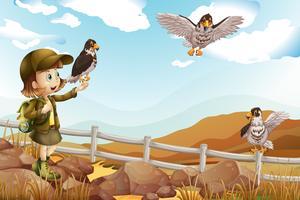 Chica y águilas silvestres volando
