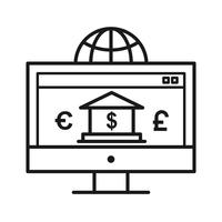 Internet banking SEO Line Icon