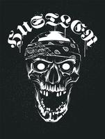Grunge cráneo en bandana con tipografía Hustler