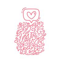 Vector monoline calligraphy phrase You Have My Heart icon like. Valentines Day Hand Drawn lettering. Heart Holiday sketch doodle Design valentine card. love decor for web, wedding and print. Isolated illustration