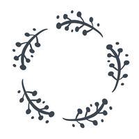 Weihnachtsskandinavischer Hand gezeichneter Vektorblumenkranz mit Platz für Ihren Text. Isoliert auf weißem Hintergrund für Retro-Design gedeihen