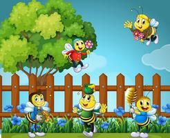 Cinq abeilles dans le jardin