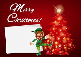 Tarjeta navideña con elfo y árbol rojo.