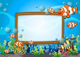 Design de moldura com peixes debaixo d'água