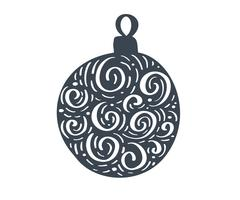 Handdraw scandinavian Christmas ball with ornament flourish vector icon silhouette. Simple gift contour symbol. Isolated on white web sign kit of stylized spruce picture