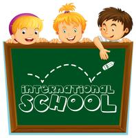International school sign with three kids