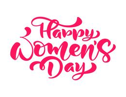 Phrase de calligraphie rose Happy Womens Day