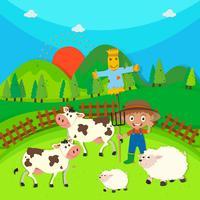Granjero y animales de granja en la granja.