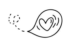 Monoline süßer Ballon mit Herz. Vektor-Valentinsgruß-Tageshand gezeichnete Ikone. Feiertagsskizzengekritzel Gestaltungselementvalentinsgruß. Liebesdekor für Web, Hochzeit und Print. Isolierte darstellung
