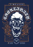 Cráneo con rosas diseño de impresión de grunge