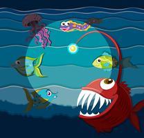 Cena do oceano com monstros marinhos