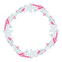Christmas Hand Drawn wreath red and blue Floral Winter Design Elements isolated on white background for retro design flourish. Vector calligraphy and lettering illustration