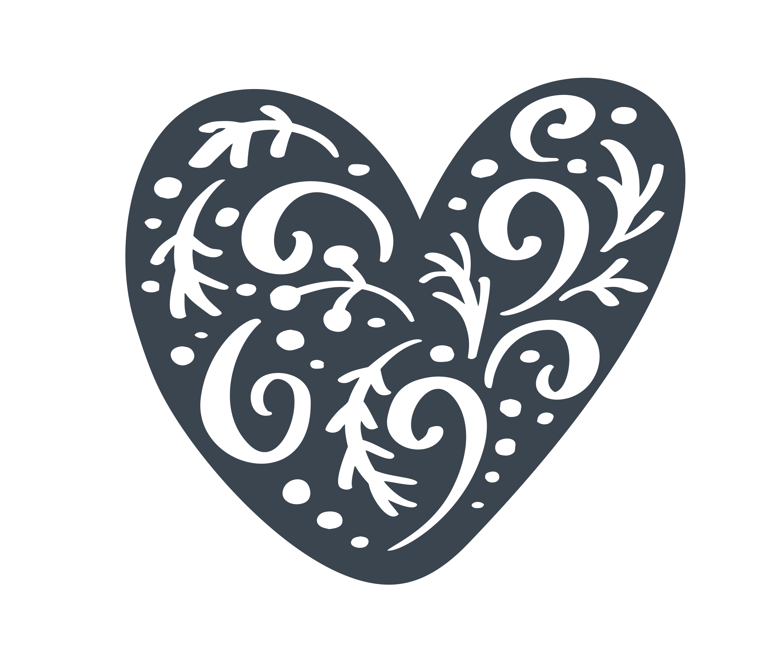 Christmas Heart Vector.Handdraw Scandinavian Christmas Heart With Ornament Flourish