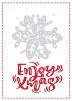 Weihnachtsskandinavische Grußkarte mit genießen Weihnachtskalligraphie-Beschriftungstext. Hand gezeichnete vektorabbildung der Schneeflocke. Isolierte Objekte