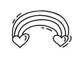 Vektormonolineregenbogen mit zwei Herzen. Valentinstag Hand gezeichnete Symbol. Feiertagsskizzengekritzel Auslegungsbetriebselementvalentinsgruß. Liebesdekor für Web, Hochzeit und Print. Isolierte darstellung
