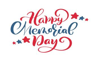Vector Happy Memorial Day card. Calligraphy hand lettering text. National american holiday illustration. Festive poster or banner isolated on white background
