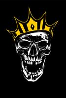 White Skull in Gold Crown on Black Background
