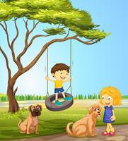 Menino menina, tocando, parque