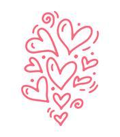 Monoline niedliche rosa verschiedene Größenherzen. Vektor-Valentinsgruß-Tageshand gezeichnete Ikone. Feiertagsskizzengekritzel Gestaltungselementvalentinsgruß. Liebesdekor für Web, Hochzeit und Print. Isolierte darstellung