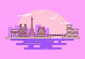 Cityscape Paris Outline Style Vector