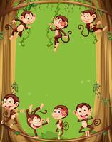 Design de fronteira com macacos na árvore