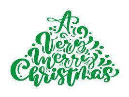 Un testo di vettore dell'iscrizione di calligrafia dell'annata verde molto allegro di Natale nella forma di albero di abete. Per la pagina di elenco design modello di arte, stile opuscolo mockup, copertura idea banner, volantino stampa opuscolo, p