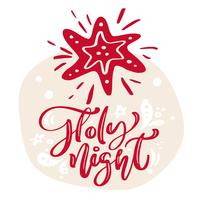 Hand drawn scandinavian illustration star. Holy Night calligraphy vector lettering text. xmas greeting card. Isolated objects