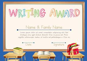 Writing award with classroom background