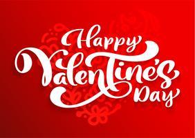 Diseño feliz del vector de la tipografía del día de tarjetas del día de San Valentín para las tarjetas de felicitación y el cartel. Texto del vector de la tarjeta del día de San Valentín en un fondo rojo de los días de fiesta. Plantilla de diseño celebrac