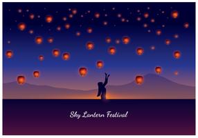 Mulher, taiwan, céu, lanterna, festival