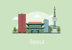 Seúl Landmark Building Vector ilustración plana
