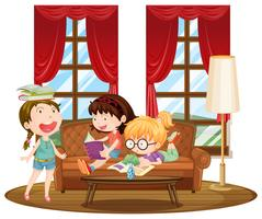 Three girls reading books in living room