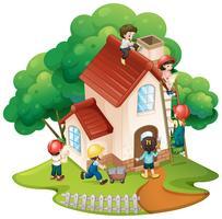 Children building little house