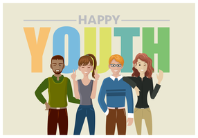Four Teenagers Happy Youth Greeting vector