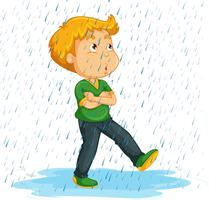 Junge, der im Regen pfeift