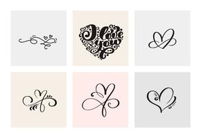 Set of six vintage Vector Valentines Day Hand Drawn Calligraphic Hearts. Calligraphy lettering illustration. Holiday Design valentine. Icon love decor for web, wedding and print. Isolated