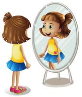 Little girl looking at herself in mirror