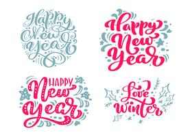 Set Happy New Year vector text Calligraphic Lettering Merry Christmas design card template. Creative typography for Holiday Greeting Gift Poster. Calligraphy Font style Banner