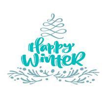Happy Winter christmas calligraphy lettering text. Xmas scandinavian greeting card with hand drawn vector illustration flourish stylized fir tree and branches. Isolated objects