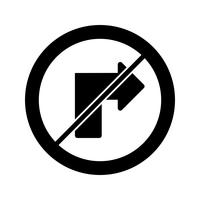 Vector No right turn Icon