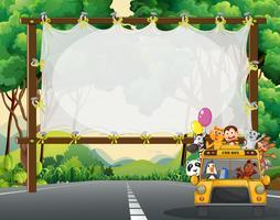 Frame design with wild animals on school bus