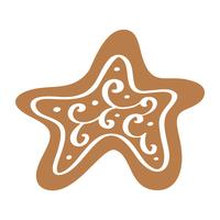 Handdraw Christmas vector cookie in scandinavian style. Isolated illustration on white background