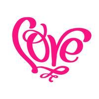 Kalligraphiewort Liebe. Vektor-Valentinsgruß-Tageshand gezeichnete Beschriftung. Herz-Feiertagsskizzengekritzel Design-Valentinsgrußkarte. Liebesdekor für Web, Hochzeit und Print. Isolierte darstellung