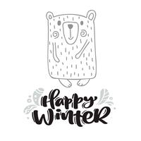 Happy Winter Kalligraphie Schriftzug. Weihnachtsskandinavische Grußkarte. Übergeben Sie gezogene Vektorillustration eines netten lustigen Winterbären. Isolierte Objekte