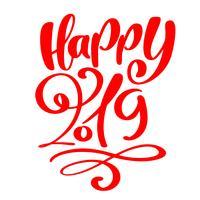 Wenskaart ontwerpsjabloon met kalligrafie Gelukkig 2019 tekst. Nieuwjaarsnummer 2019 hand getrokken belettering. Vector illustratie