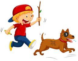 Jongen plagende kleine hond