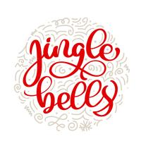 Texto de la Navidad del vector de las letras de la caligrafía del vintage de los cascabeles con el invierno que dibuja la decoración escandinava del flourish. Para el diseño de arte, el estilo del folleto de la maqueta, la portada de la pancarta, el folle