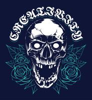 Skull with Roses Grunge Print Design vector